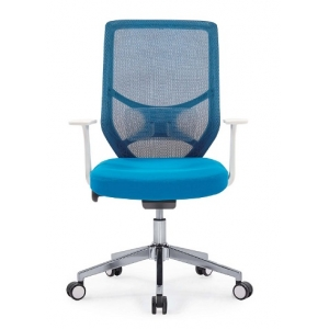 Newcity1439B White PP Frame High Quality Mesh Chair Blue Imported Special Mesh Chair Hot Sale Computer Mesh Chair Fashionable Modern Comfortable Mesh Chair Chinese Foshan Supplier