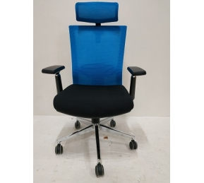 China Newcity 1513A-1 Synchro-Tilt Mechanism Mesh Chair 4D Adjustable PP With PU Armpad Armrest Mesh Chair High Back Lumbar Adjustable Mesh Chair Supplier Foshan China factory