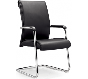 China Newcity 6341 Office Conference Visitor Chair PP Armrest Visitor Chair  Modern Ergonomic Leather Meeting Room Chair Black Executive Comfortable Visitor Chair Chinese Foshan Supplier factory