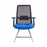 China Newcity 1512C Stable Visitor Chair In Meeting Room High Quality Visitor Mesh Chair Mid Back Ergonomic Bow Shaped Foot Office Chair Mesh Fabric Visitor Chair With Fixed Base Foshan China factory